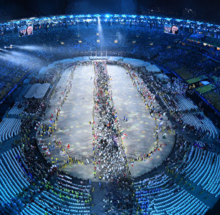 This picture shows an overview during the closing ceremony of the Rio 2016 Olympic Games at the Maracana stadium in Rio de Janeiro on August 21, 2016.