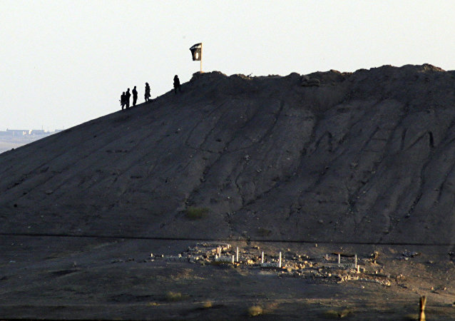 In this image shot with an extreme telephoto lens and through haze from the outskirts of Suruc at the Turkey-Syria border, militants with the Islamic State group are seen after placing their group's flag on a hilltop at the eastern side of the town of Kobani, Syria (File)