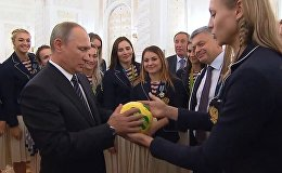 Putin Receives Special Gift from Women's Handball Team