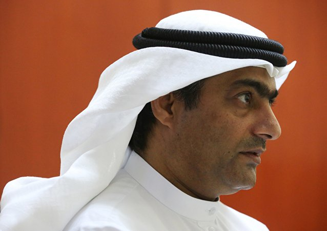 Human rights activist Ahmed Mansoor speaks to Associated Press journalists in Ajman, United Arab Emirates, on Thursday, Aug. 25, 2016.