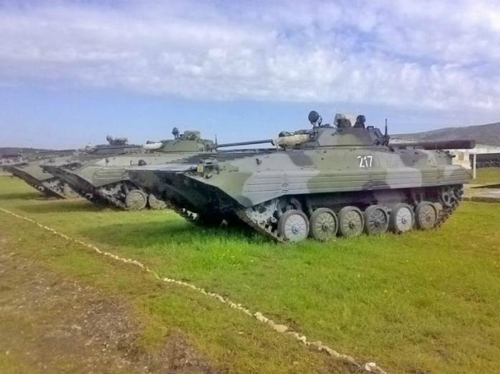Light tanks belonging to the 126th Separate Coastal Defense Brigade of the Black Sea Fleet