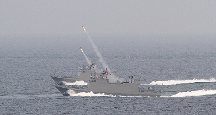 Taiwan's Kuang Hua VI-class missile boats launch HF-2 anti-ship missiles during Han Kuang military exercises in Penghu county, Taiwan, April. 17, 2013
