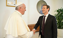 Pope Francis shakes hands with Facebook CEO Mark Zuckerberg during a meeting at the Vatican August 29, 2016