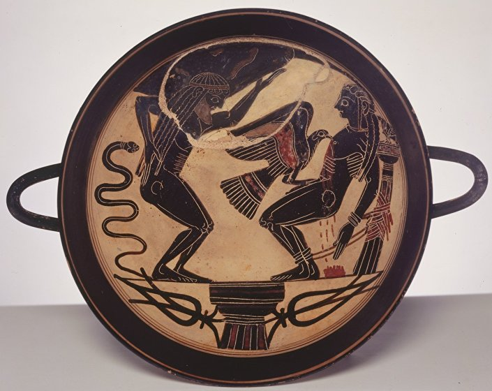 A dish from the sixth century BC depicting Prometheus and his brother Atlas