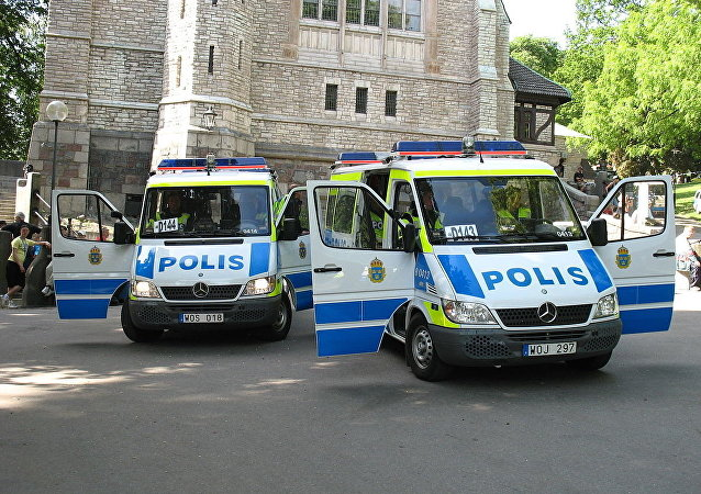 Swedish police vans in Stockholm