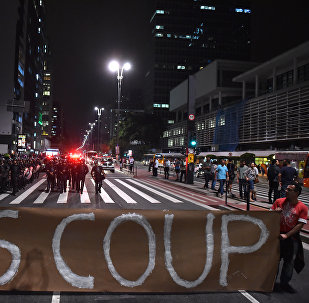 Supporters of suspendend President Dilma Rousseff hold a demonstration during her impeachment trial, in Sao Paulo, Brazil on August 30, 2016.