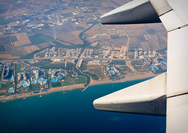 Part of the resort area to the east of Antalya just after take off from Antalya Airport