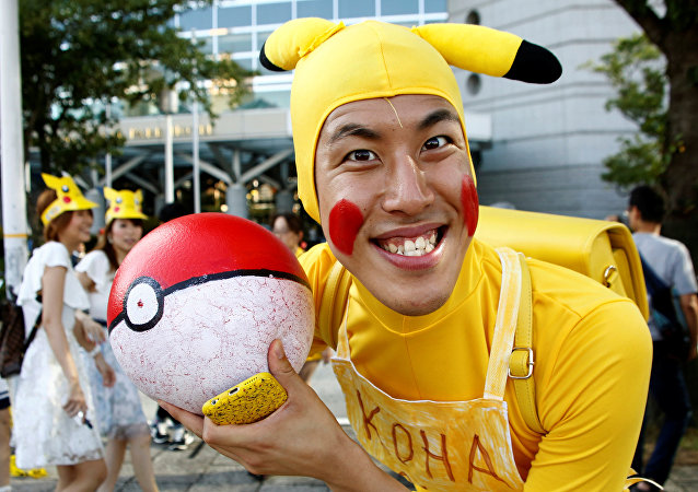 A man wearing Pokemon's character Pikachu costume