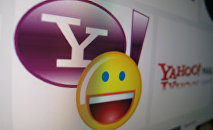 A Yahoo messenger logo is displayed on a monitor in this photo illustration shot April 16, 2013.