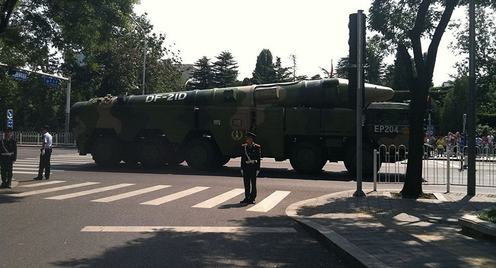 The Chinese Dongfeng-21D medium-range ballistic missile.