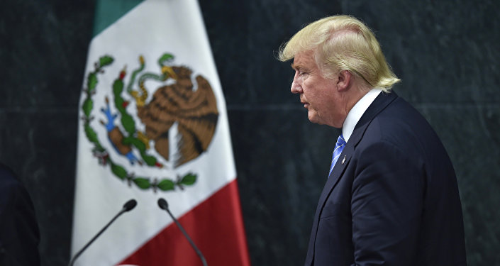 US presidential candidate Donald Trump leaves after a joint press conference with Mexican President Enrique Pena Nieto (out of frame) in Mexico City on August 31, 2016.