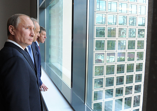 Russian President Vladimir Putin visiting the campus of the Olympic University in Sochi. September 2013