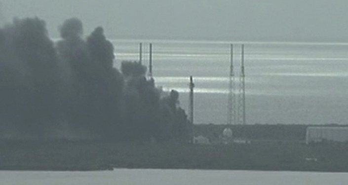 Smoke rising on the launch site of SpaceX Falcon 9 rocket in Cape Canaveral, Florida