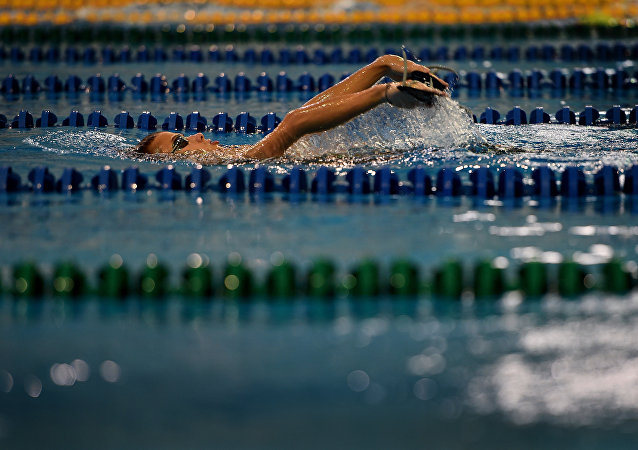Paralympic swimmer Alexander Makarov, Russia's Paralympic national team, swims during a training session in the town of Ruza, 100 km west of Moscow