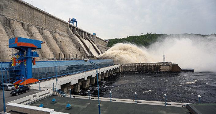 Water discharge from Bureya hydro power plant, RusHydro