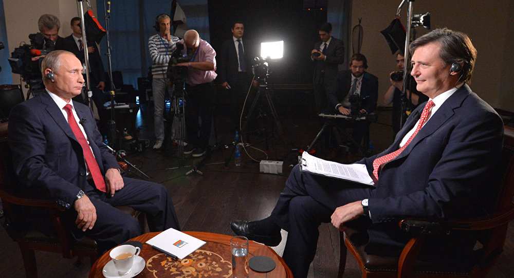 Russian President Vladimir Putin  in an interview with Bloomberg