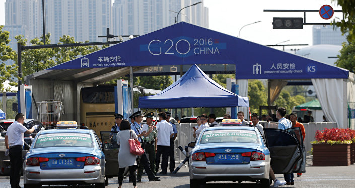 The entrance to a conference centre, where the G20 summit will be held, is pictured before the G20 Summit in Hangzhou, Zhejiang Province, China