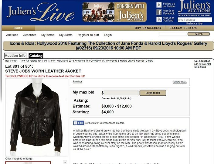 Steve Jobs Leather Jacket Auction