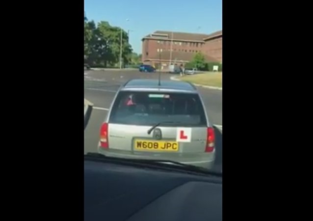 Student Driver Struggles to Get Up the Nerve at Roundabout
