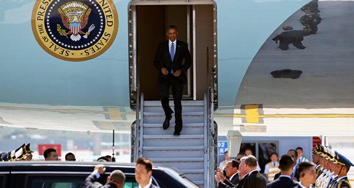 U.S. President Barack Obama arrives at Hangzhou Xiaoshan international airport before the G20 Summit in Hangzhou, Zhejiang province, China