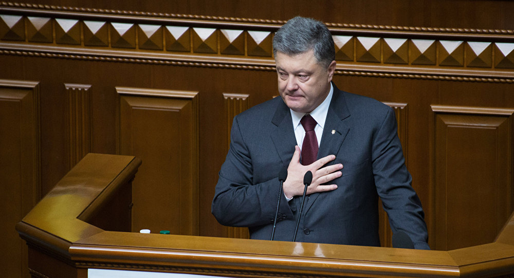 President of Ukraine Petro Poroshenko speaks during a meeting of the Verkhovna Rada in Kiev