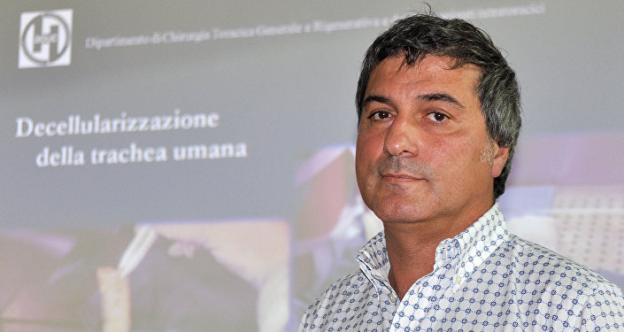 In this file photo dated Friday, July 30, 2010, Dr. Paolo Macchiarini during a press conference announcing what he called the successful transplant of windpipes using innovative stem cell tissue regeneration, in Florence, Italy, Friday, July 30, 2010