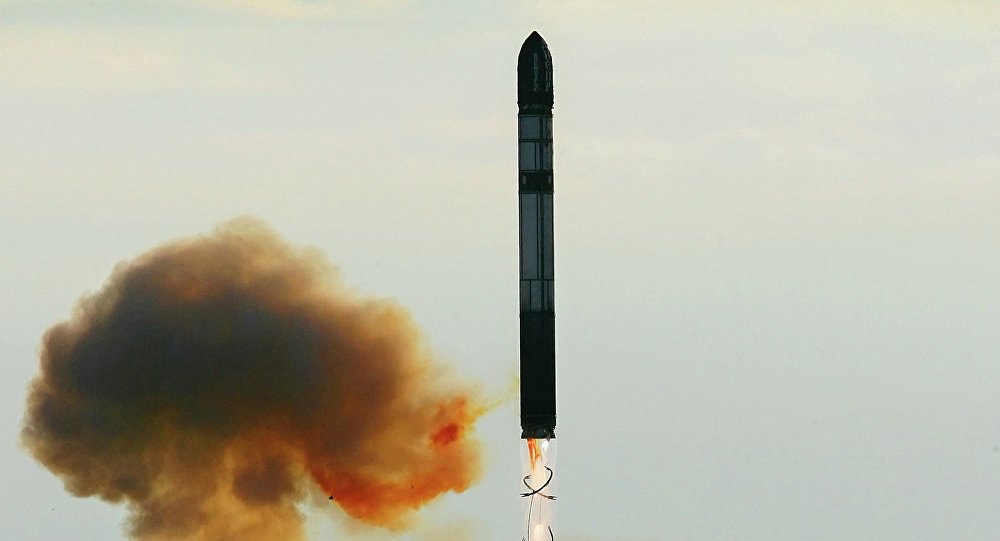 Launching an RS-20 Voyevoda (SS-18 Satan) intercontinental ballistic missile