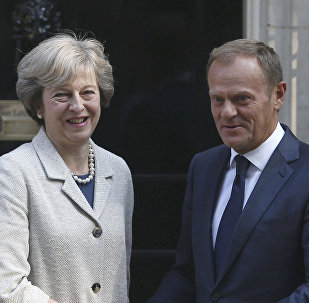 Britain's Prime Minister Theresa May (L) greets European Council President Donald Tusk in Downing Street in London, Britain September 8, 2016.