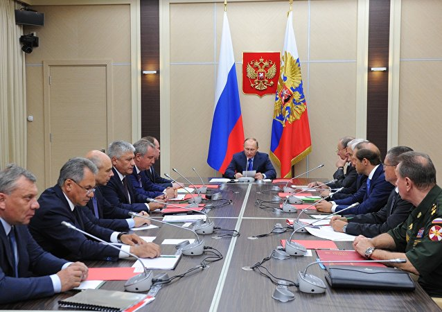 September 9, 2016. Russian President Vladimir Putin, center, chairs a meeting in the Kremlin on the key points of the state armament program 2018-35.