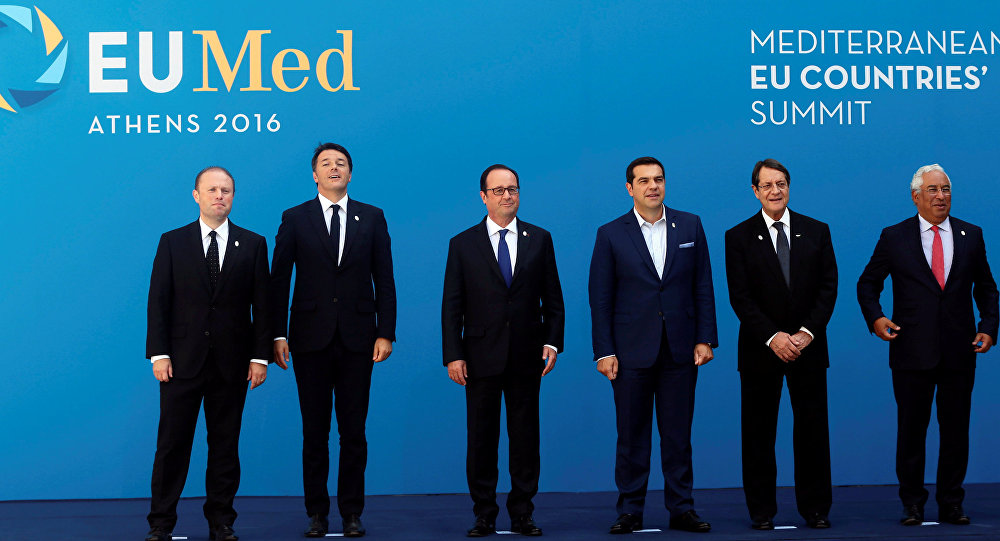 (L-R) Maltese Prime Minister Joseph Muscat, Italian Prime Minister Matteo Renzi, French President Francois Hollande, Greek Prime Minister Alexis Tsipras, Cypriot President Nicos Anastasiades, Portuguese Prime Minister Antonio Costa and Spanish State Secretary for the European Union Fernando Eguidazu pose for a family photo during a summit of southern European states at Zappeion Hall in Athens, Greece, September 9, 2016.