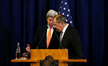 U.S. Secretary of State John Kerry and Russian Foreign Minister Sergei Lavrov confer at the conclusion of their press conference about their meeting on Syria in Geneva, Switzerland September 9, 2016. The ceasefire that Moscow and Washington eventually agreed to was disrupted after being in force for just over a week.