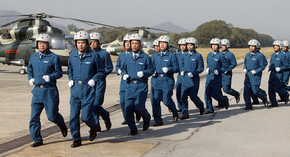 Chinese People's Liberation Army (PLA) air force troops.