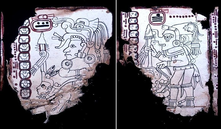 (L) A young deity, probably male but possibly female, is bedecked with an elaborate reptilian headdress and wears a tubular plug through the ear lobe. (R) God K, attired as a Toltec warrior.