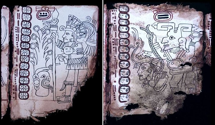 """(L) The feathered headdress on this figure identifies him with the spearing gods in the central Mexican Venus Tables. (R) A god with tear-drop eye and """"Dick Tracy"""" nose holds a round object (perhaps a stone he is about to hurl) by one hand and a tied captive by the other."""