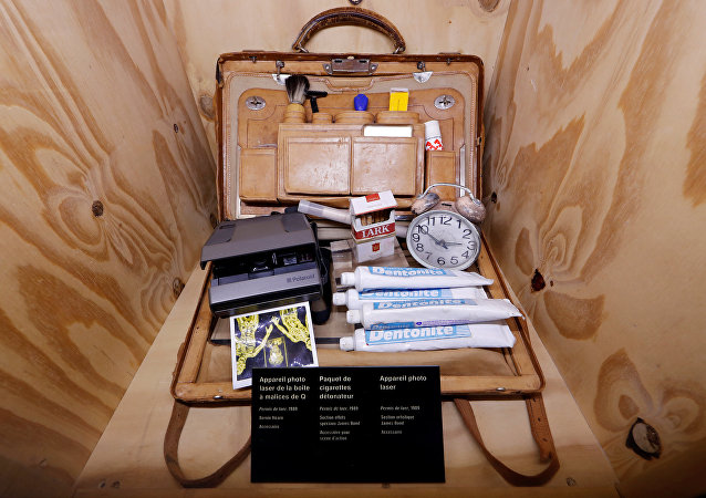 Q'S Bag Of Tricks is displayed during a press presentation of the exhibition The Designing 007: Fifty Years of Bond Style at the Grande Halle de la Villette in Paris, France, April 13, 2016