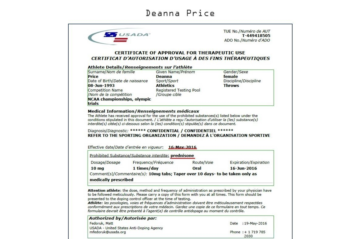 WADA data on US team's Deanna Price