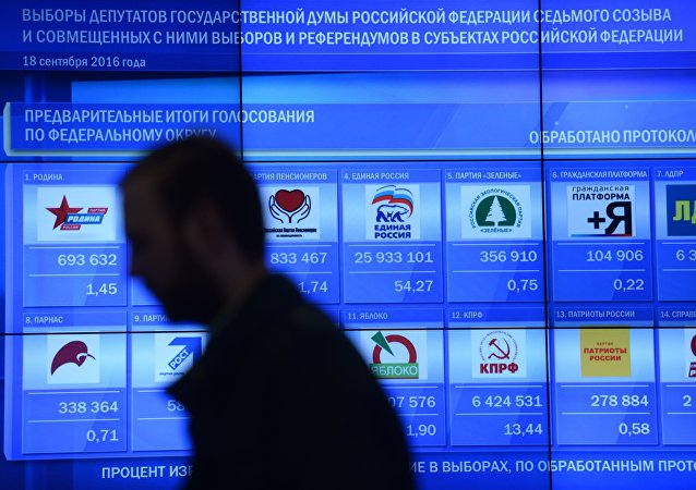 Early results of the Russian State Duma election on an information screen at the Russian Central Election Commission.