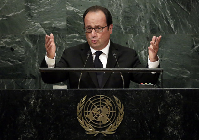 France's President Francois Hollande addresses the 71st session of the United Nations General Assembly, at U.N. headquarters