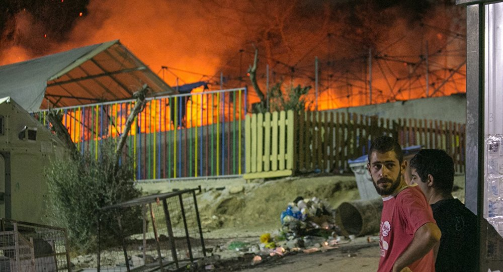 Fire At Moria Refugee Camp, Island of Lesbos