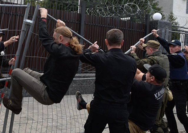 Nationalist rally outside Russian diplomatic missions in Ukraine