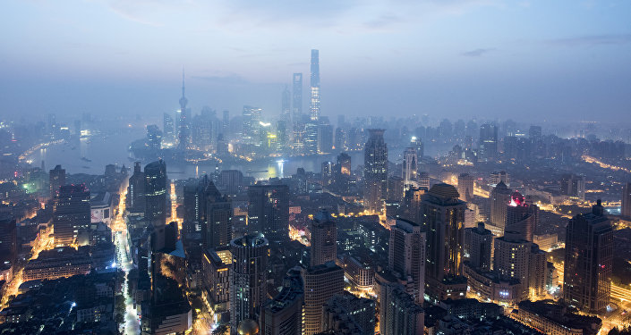 This picture taken early on September 9, 2016, shows the financial district of Pudong in Shanghai