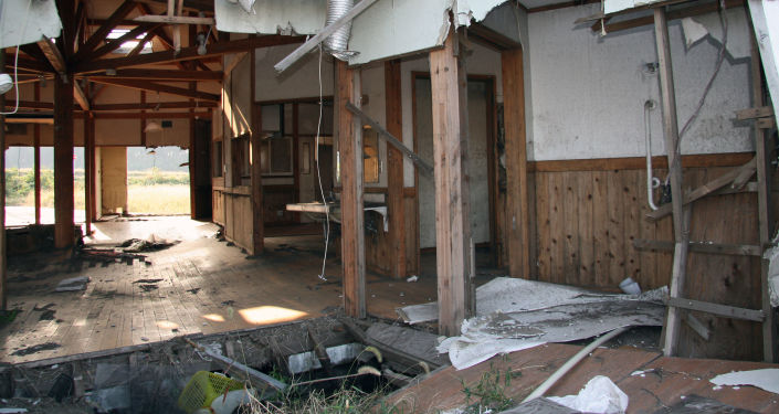 Abandoned school in Fukushima prefecture.