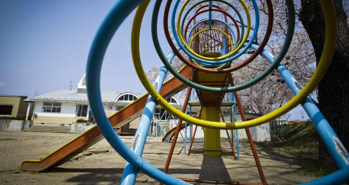 Playground at a kindergarten in the deserted town of Futaba, inside the 12-mile evacuation zone around the crippled Fukushima Daiichi nuclear power plant.