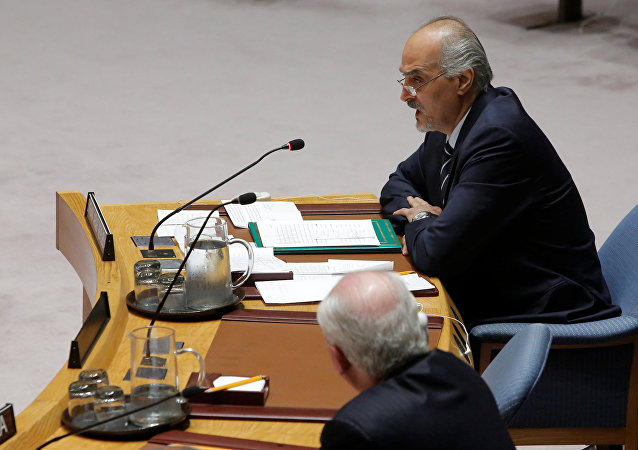Syrian Ambassador to the United Nations Bashar al-Jaafari addresses the United Nations Security Council during a high level meeting on Syria at the United Nations in Manhattan, New York, U.S
