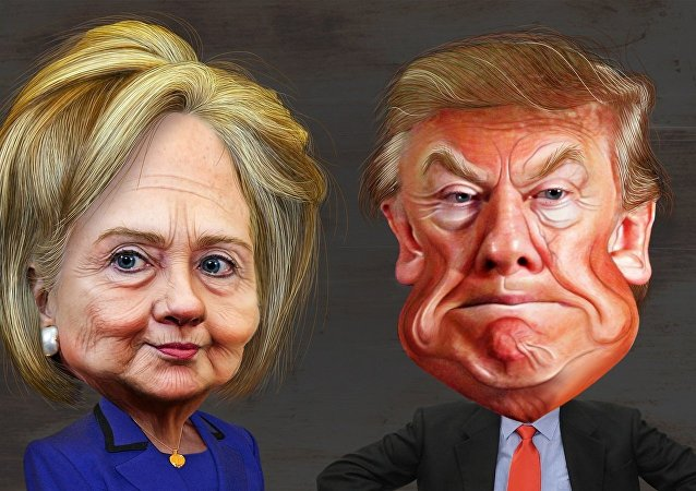 Clinton and Trump cartoon