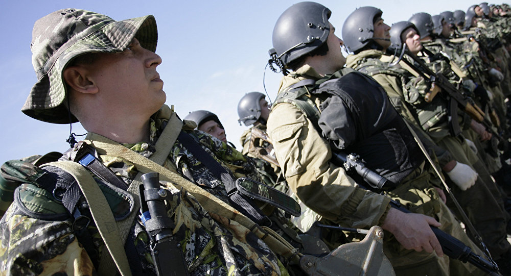 The CIS special forces soldiers during the formation at the training of the Collective Security Treaty Organization (CSTO)