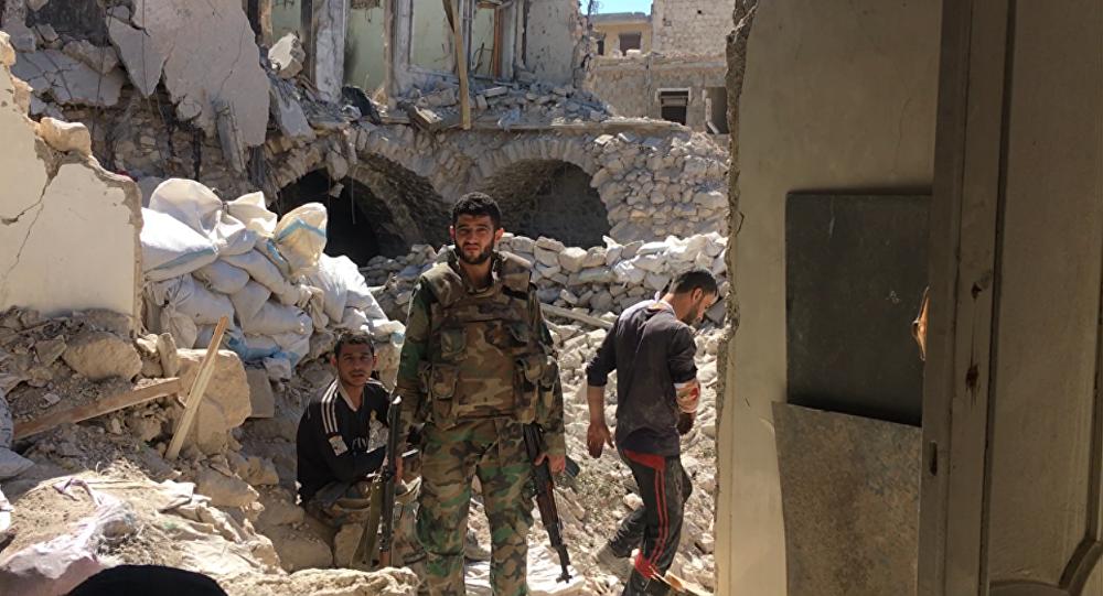 Syrian Army servicemen in Aleppo.
