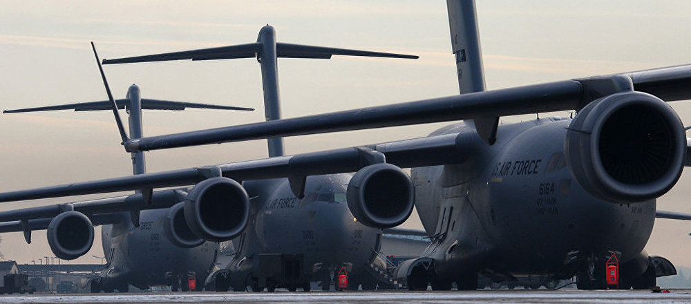 C-130 Hercules transport aircraft at US Airbase at Ramstein.