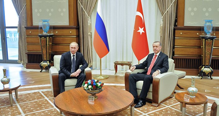 Russian President Vladimir Putin, left, and President of Turkey Recep Tayyip Erdogan during a meeting in the Presidential Palace in Ankara. file photo
