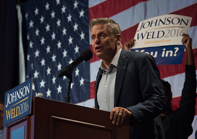 Libertarian presidential candidate Gary Johnson speaks to supporters at a rally September 10, 2016 in New York